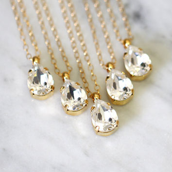White Crystal Necklace,Swarovski Bridesmaids Necklace, Crystal Necklace,Bridal Necklace,Silver Bridesmaids Crystal Necklace, Gold Necklace