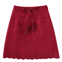 Red Scalloped Hem Pencil Mini Skirt