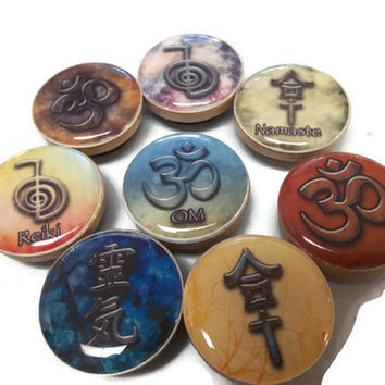 Set of Eight Reiki Magnets OM Namaste Power Symbol Reiki Healing Energy Durable Magnets