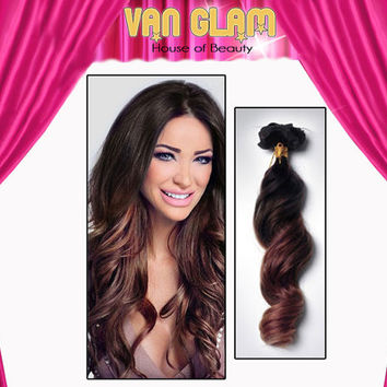 Clip In, Hair Extensions, Dark Brown, Auburn, Ombre, 20""