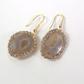 Tabasco Geode Earrings Geode Druzy Ivory Taupe Slice Earrings Diamond Look Bezel Dangle Gold Vermeil CZ Earrings - Casey