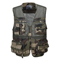High Quality Military Men Vests Clothing Multi Pocket Mesh Men Vest Casual Camouflage Cargo Tactical Vests