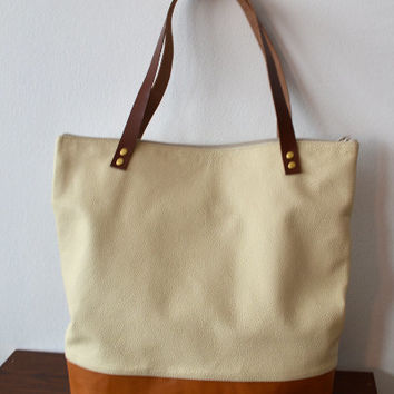 Leather tote bag, Soft cream brown leather tote