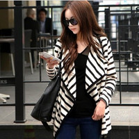 Striped Pattern Wide Collar Long Sleeve Cardigan