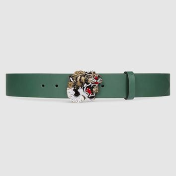 GUCCI Men's Animalier Tiger Belt Green Color / Size 85 90 95 100cm / Authentic