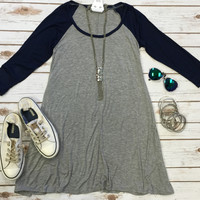 Baseball Style Tunic Dress: Navy