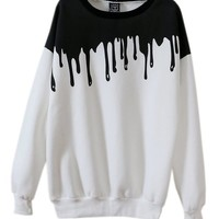 Mooncolour Women's New Fashion Splicing Print Long Sleeve Pullover