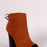 Bamboo Suede Peep Toe Back Lace-Up Booties