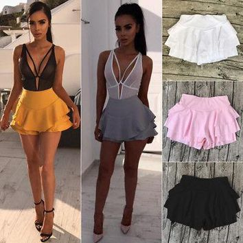 High Waist Frill Ruffle Flared Pleated Short