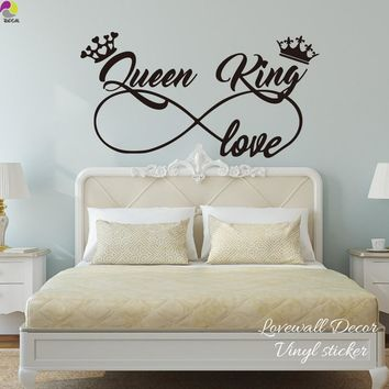 Cool King and Queen Love Infinity Crown Wall Sticker Bedroom Sofa Family Lover Wife Husband Wall Decal Living Room Vinyl Home DecorAT_93_12
