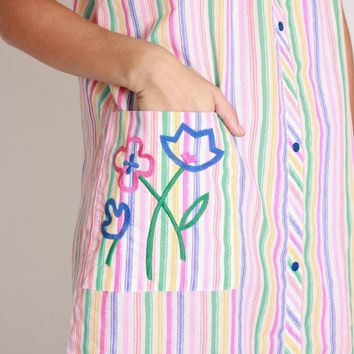 70s Candy Stripe Embroidered Dress / M