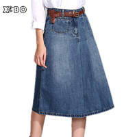 Free Shipping! women's A-Line denim skirts,vintage style big size female long jeans skirt M L XL XXL XXXL 4XL 5xl