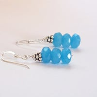 Sterling Silver Faceted Blue Jade Earring Dangles