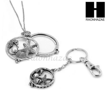 5X Magnifying Glass Starfish Seahorse Key Chain Pendant Chain Necklace Set SJ5S