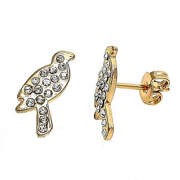 Gold Layered 02.59.0096 Stud Earring, Bird Design, with White Crystal, Polished Finish, Gold Tone