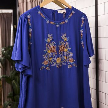 Embroidered Blouse, Royal Blue