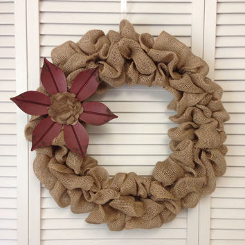 "18"" Burlap Wreath with Red Distressed Metal Flower, Wreath for All Year, Primitive Wreath"
