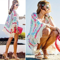 New Women Boho Fringe Floral Kimono Cardigan Tassels Beach Cover Up Cape Jacket = 4904726788
