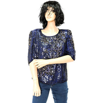 80s silk sequin top / size S / M / black / blue beaded sequined blouse / 1980s retro disco party club shiny top / SunnyBohoVintage