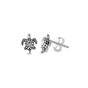 Sterling Silver 8mm Antiqued Tiny Sea Turtle Stud Earrings