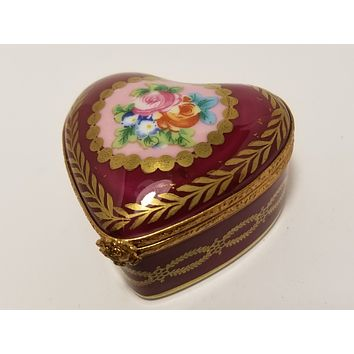 Red Heart Limoges Box Flowers Rehausse main Limoges Boxes
