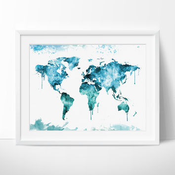 World Map, World Map Poster, Art Print Map, World Map Art, Watercolor World Map, World Map Wall Art, Large World Map (26)
