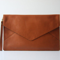 Oversize Envelope Leather Clutch in Tan