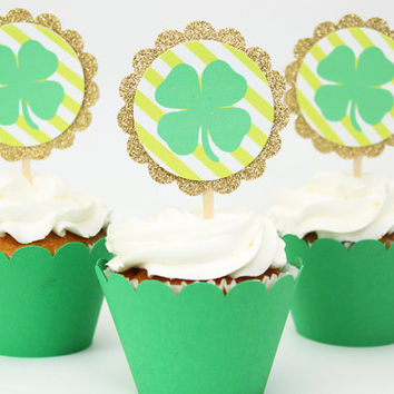 St. Patricks Day Cupcake Toppers Green Party Supplies Gold Glitter Cupcake Toppers Lime Green Clover St Patrick's Day Party / Set of 12