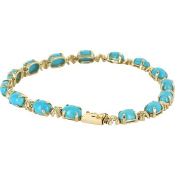 Vintage Turquoise 14k Yellow Gold Tennis Line Bracelet Estate Fine Jewelry