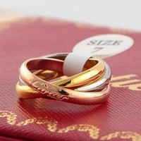 Cartier Woman Men Fashion Plated Ring