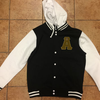 Alpha Fleece Letterman Jacket with Removable Hood