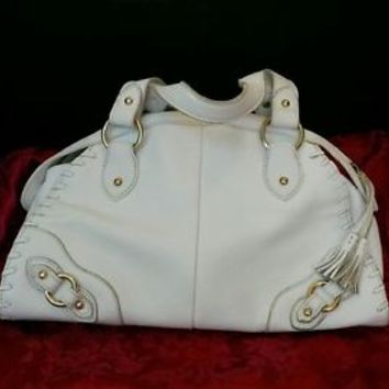 The Sak white leather purse EUC Gold satin Lining