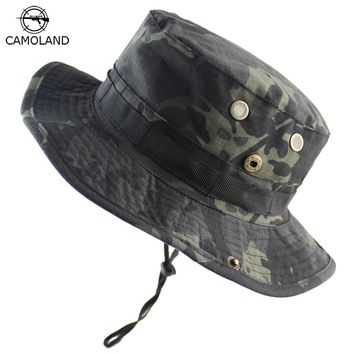 Men Women Bucket Hat Outdoor Fishing Boonie Hat UV Protection Panama Hat Hiking Sombrero Army Tactical Camouflage Sun Hat Men