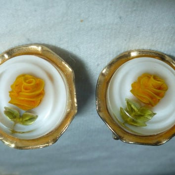 Yellow Rose Earrings Celluloid Screw Back Style Vintage Estate Flower Jewelry