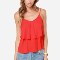 Tier Up the Town Red Tank Top