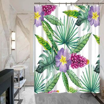 Bathroom Hotel Tropical Plant Series Shower Curtain Flower Green Leaf Polyester Waterproof Curtain Shower with 12 hooks