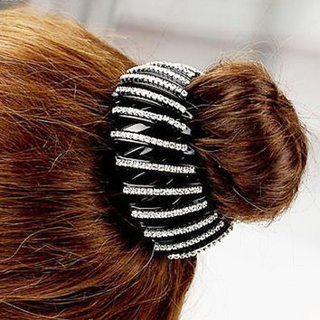 Fashion Bird Nest/ Expanding Tail Hair Bun Holders Clips Grips Clamps Claw with Rhinestones Hair Accessories C2