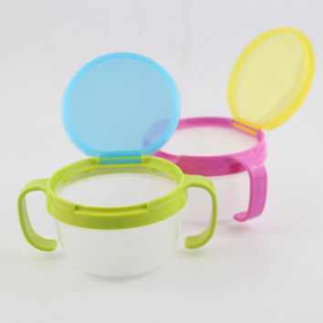 Safe Baby Child Kids Food Snacks Candy Biscuit Anti spill Storage Holder Tank Non spilling Dishes Bowl Cup with Cover & Handle