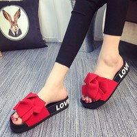 Women Summer Pink Slippers Flat Heel Slides