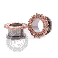 Rose Gold Gem Filigree Threaded Steel Tunnels