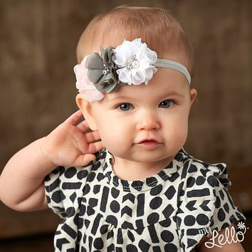 Baby Beaded Chiffon 3-Flower Headband
