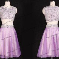 Sweetheart Sparkling LilaceTwo Pieces Top All Embriodery Lace Beads Empire Line Tulle Short Prom Dress for Girl,short graduation dress