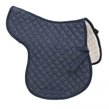 Quilted blue denim all purpose English saddle pad