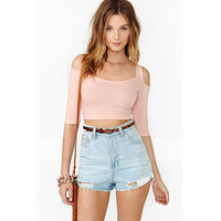 Pink Half Sleeve Shoulder Cut-Out Cropped Top