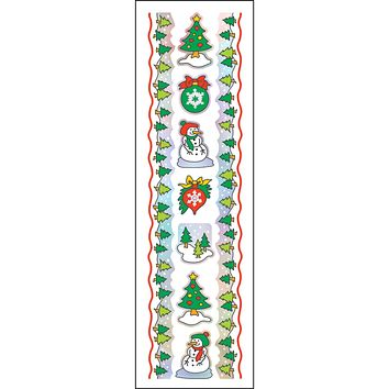 Hambly Iridescent Foil Border Stickers, Christmas Trees (25 Sheets)