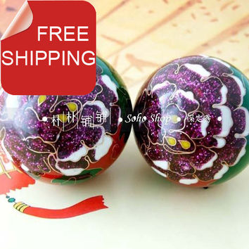 Cloisonne 50mm baoding ball w/red peony in multi colors.Fadeless musical stress health relief balls.Red paper box. shipping.