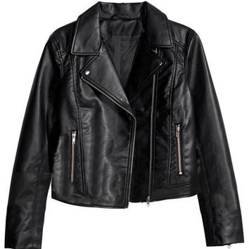 ROMWE | Lapel Zippered PU Black Jacket, The Latest Street Fashion