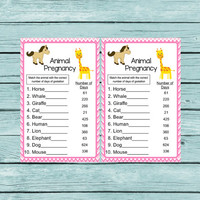 Girl Baby Shower Games Instant Download Animal Pregnancy Game Printable Baby Shower Game Animal Gestation Game Girl diy Shower Pink Chevron