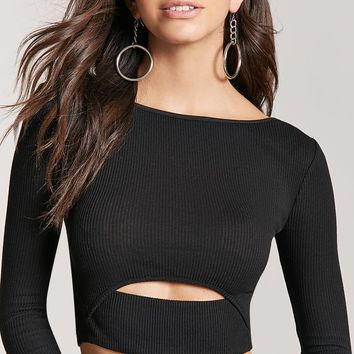 Ribbed Cutout Crop Top