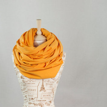 Oversized Infinity Scarf, Golden Mustard Yellow Circle Cowl Scarf, Extra Large Hooded Jersey Circle Shawl Scarf, Large Scarves